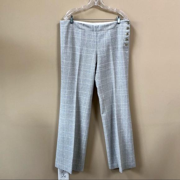 Anthro Elevenses Brighton Gray Plaid Wool Pants 12